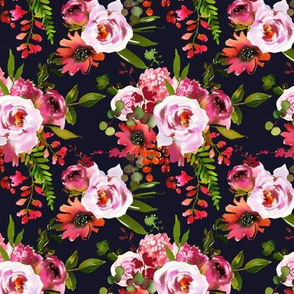 Pink and Coral Floral Bouquets on Navy