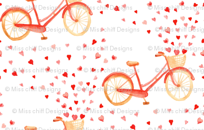 Red Bike  Bicycle Heart Watercolor || Love Valentine marriage wedding  pink white red _ Miss Chiff Designs