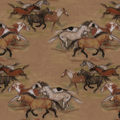 Wild Horse Herd 2 in Crayon on Brown Paper