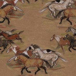 Wild Horse Herd 2 in Crayon on Brown Paper