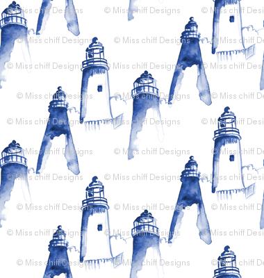 Nautical Indigo Light House Watercolor || Maine Ocean water blue white