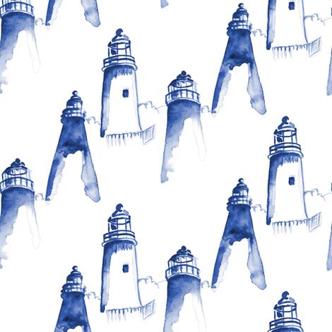 Nautical Indigo Light House Watercolor || Maine Ocean water blue white  fabric by misschiffdesigns on Spoonflower - custom fabric