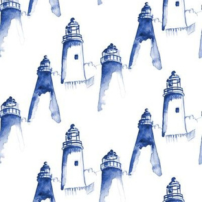 Nautical Indigo Light House Watercolor || Maine Ocean water blue white
