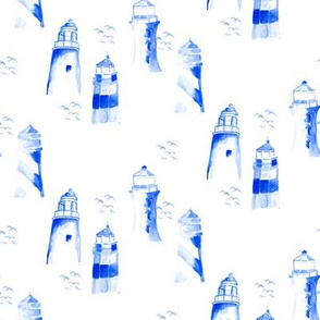 Nautical blue light house watercolor    Maine bird white indigo ocean water _ Miss Chiff Designs