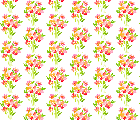 Blended Bouquet - White fabric by sweetseasonsart on Spoonflower - custom fabric