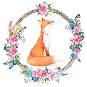 "26""x36"" Bohemian Floral Fox/ 2 to 1 yard MINKY"