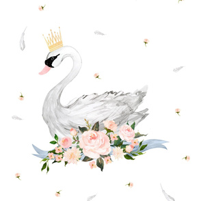 "28""x36"" Floral Swan with Free Falling Florals"