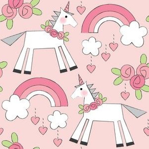 unicorns-and-roses on pink