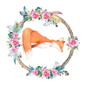 "29""x18"" Bohemian Dreams Floral Fox"