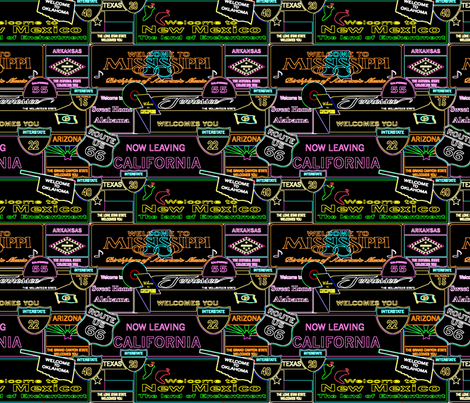 Neon roadtrip fabric by krystalsavage on Spoonflower - custom fabric
