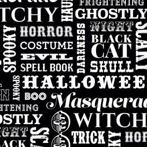 Halloween Greetings in Black and White