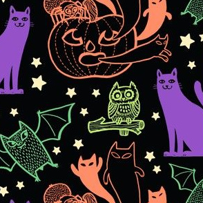 Pumpkins, Bats, & Ghosts in Midnight Multicolor