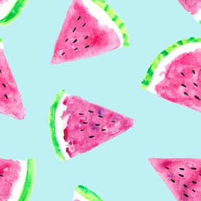 watermelon slices - light blue || fruit fabric (90)