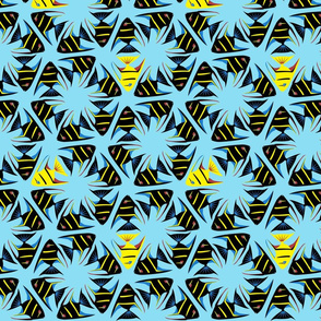 Geometric Angelfish - Black with Yellow