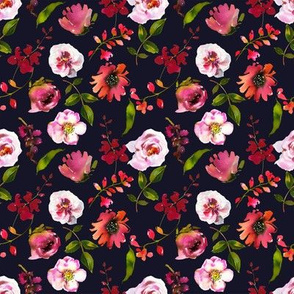 Blushing Coral Florals on Deep Navy