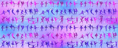 1 ballet ballerina dance dancing dancers tutu pirouette sparkles stars universe galaxy cosmic cosmos planets nebula silhouette watercolor effect  purple blue violet clouds