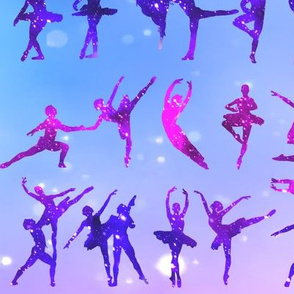 1 ballet ballerina dance dancing dancers tutu pirouette sparkles stars universe galaxy cosmic cosmos planets nebula silhouette watercolor effect  purple blue violet clouds