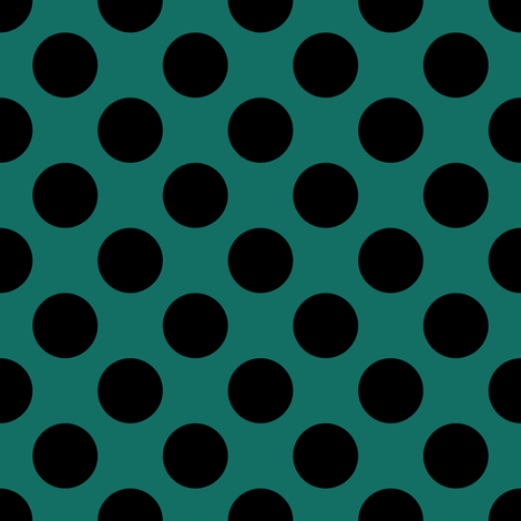 One Inch Close Black Polka Dots on Cyan Turquoise fabric by mtothefifthpower on Spoonflower - custom fabric