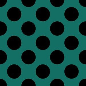 One Inch Close Black Polka Dots on Cyan Turquoise