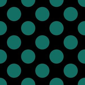 One Inch Close Cyan Turquoise Polka Dots on Black