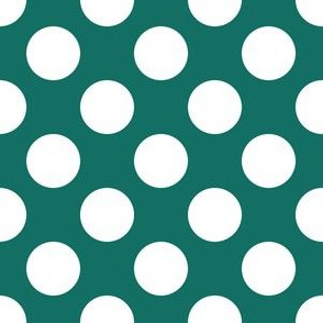 One Inch Close White Polka Dots on Cyan Turquoise