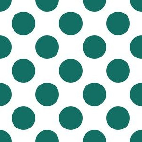 One Inch Close Cyan Turquoise Polka Dots on White
