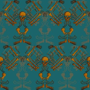 Skeleton Damask-Copper and dark teal