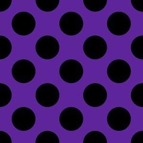One Inch Close Black Polka Dots on Purple