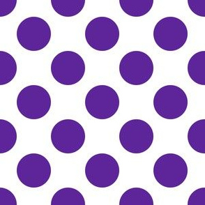 One Inch Close Purple Polka Dots on White