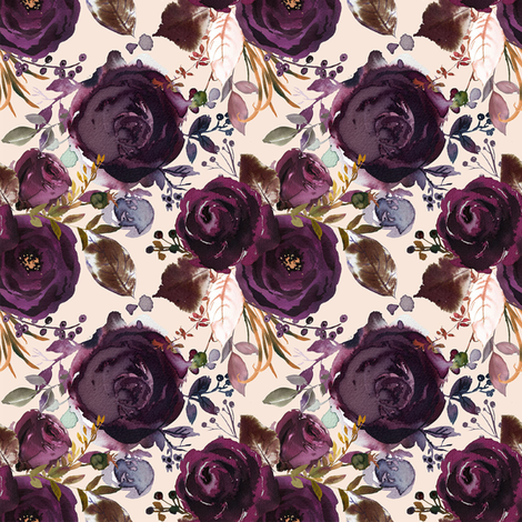 Boho Plum Roses fabric by hipkiddesigns on Spoonflower - custom fabric