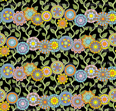 Beautiful-Day-Floral-Stripe-color on black