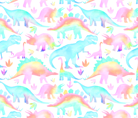 Pastel Dinosaurs - larger scale fabric by emeryallardsmith on Spoonflower - custom fabric