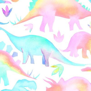Pastel Dinosaurs - larger scale