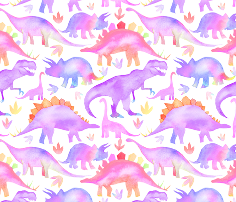 Purple dinosaurs larger scale fabric emmaallardsmith for Purple dinosaur fabric