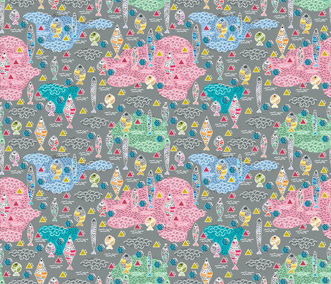 Fish-Memphis-Style fabric by y_me_it's_me on Spoonflower - custom fabric
