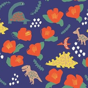 Dinosaur and Camellia japonica flowers on blue