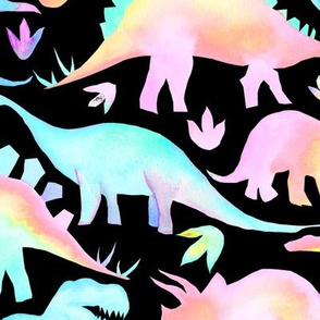 Pastel Neon Dinosaurs on black