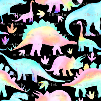 Pastel Dinosaurs on black - smaller scale