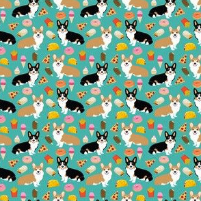 corgi junk food fabric cute corgis and junk food, pizza, ice cream fries, donuts etc. cute dogs designs - tiny version
