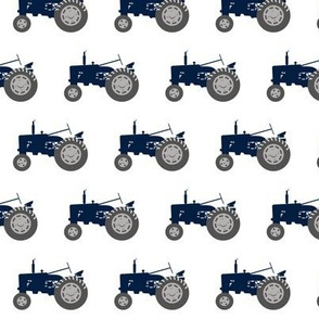 tractor - navy on white
