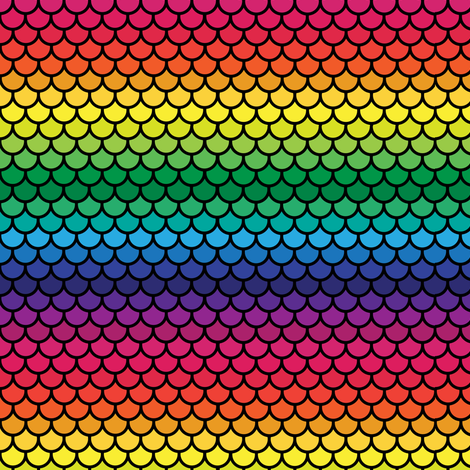 Mini Feather Scales in Rainbow (black) fabric by little_fish on Spoonflower - custom fabric