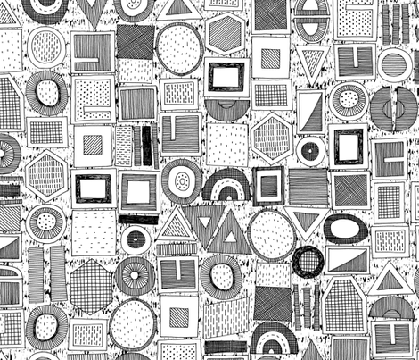 frisson memphis black white fabric by scrummy on Spoonflower - custom fabric