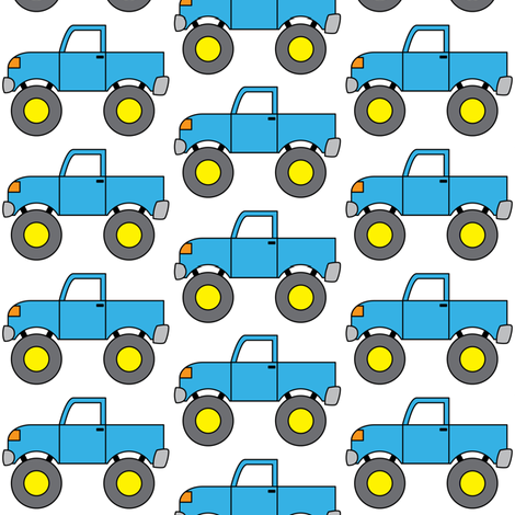 blue monster trucks fabric by lilcubby on Spoonflower - custom fabric