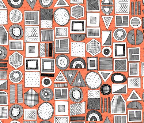 frisson memphis bw orange fabric by scrummy on Spoonflower - custom fabric