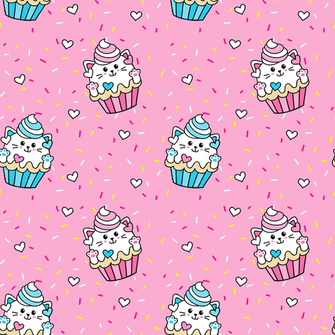 Cupcake Kitten Cat Project No 92  fabric by projectno92 on Spoonflower - custom fabric
