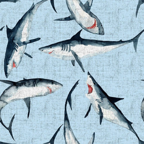 Great Whites are great! Sharks on a woven blue background