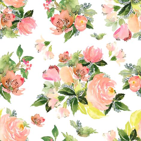 """8"""" Moonstone Blooms - White fabric by shopcabin on Spoonflower - custom fabric"""