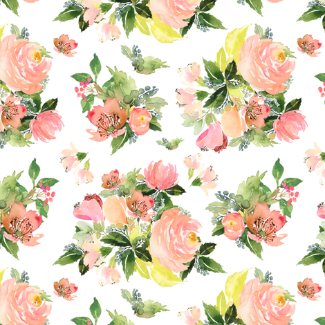 """6"""" Moonstone Blooms - White fabric by shopcabin on Spoonflower - custom fabric"""