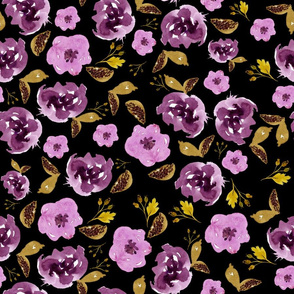 "18"" Plum and Gold Florals - Black"