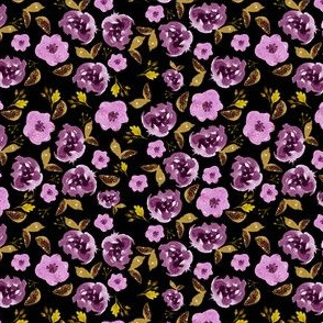 "4"" Plum and Gold Florals - Black"